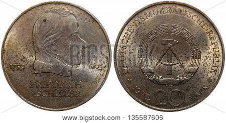 Commemorative Coin Of The German Democratic Republic With Portrait Of Friedrich V. Schiller