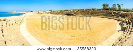 The large arena of the hippodrome that was built by Herod the Great for the chariot races especially popular in the ancient Rome Israel.