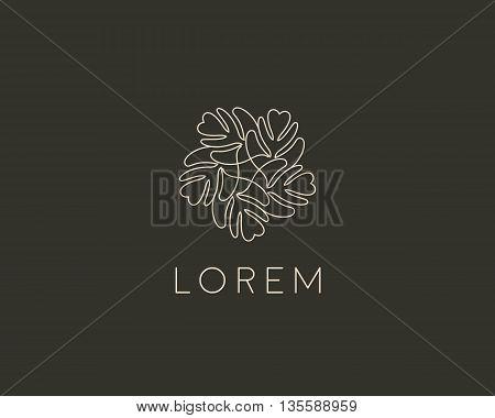 Line leaf tree flower logo design. Universal luxury boutique vector sign