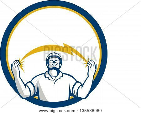Illustration of an electrician looking up and hands raised with lightning bolt struck in both hands viewed from the front set inside circle done in retro style.