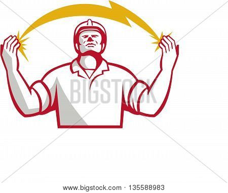 Illustration of an electrician looking up and hands raised with lightning bolt struck in both hands viewed from the front set on isolated white background done in retro style.