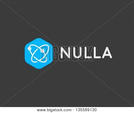 Abstract biotechnology molecule atom dna logo design template. Medicine, science, technology, laboratory, logotype vector icon