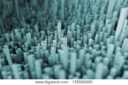 3D illustration of abstract macro render with shallow dept of field. Macro blue city