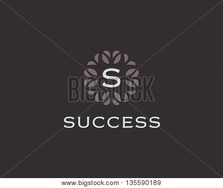 Premium monogram letter S initials logo. Universal symbol icon vector design. Luxury abc leaf logotype