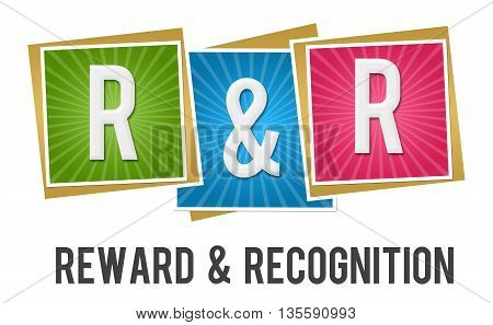 R And R - Reward And Recognition text over colorful background.