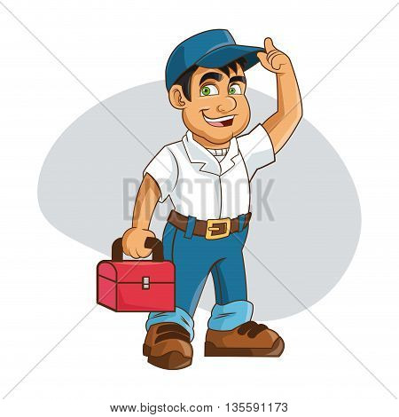Plumbing service represented by cartoon man with work cloth over isolated and flat background