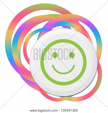 Smily face icon with bang over abstract colorful background.