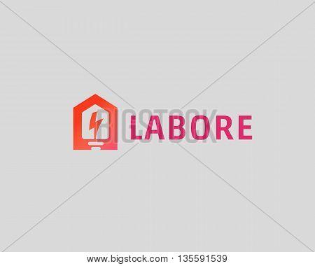 Abstract flash house logo design template. Universal home smart idea icon. Bulb negative space vector logotype.