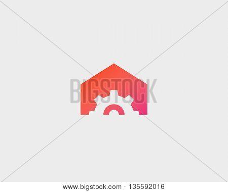 Gear house logo design. Home made minimal vector logotype