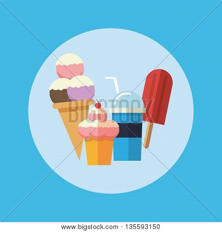 Delicius Food represented by sweet donut icon over pastel and flat background