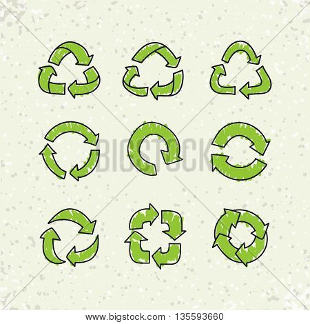Set of sketch doodle recycle reuse symbols isolated on craft paper background. Hand drawn vector recycle icon. Recycle signs for ecological design, recycling icons poster