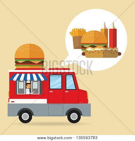 Delicius Food represented by hamburger with truck icon over pastel and flat background