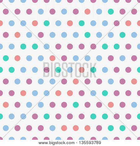 Vector background with colorful dots, seamless polkadot pattern. Geometric seamless pattern with circles. Background for pop art illustration