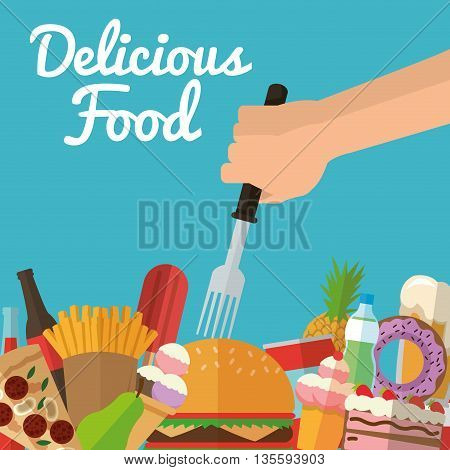 Delicius Food represented by variety of food icon over pastel and flat background