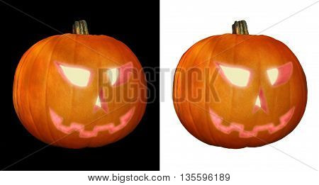Two copies of Jack O'Lantern isolated on black and white background.