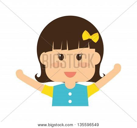 Kid and chilhood represented by girl over isolated and flat background
