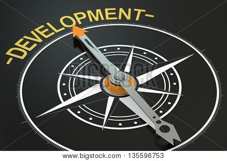 Development compass concept 3D rendering on black background