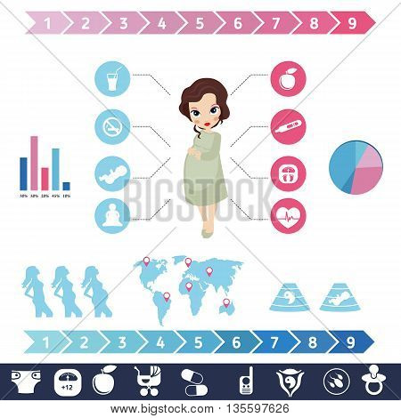 Pregnancy and newborn baby icons set. Childbirth and motherhood. Pregnancy and birth infographics. Medicine and pregnancy vector icons set.