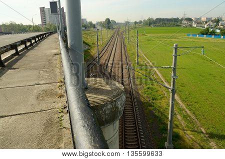 Byelorussia.Road bridge in the city of Gomel.Under the bridge is the railroad.