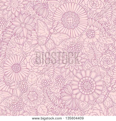 Monochrome pink seamless hand drawn pattern with flowers. Ornate pattern with abstract flowers, leaves and butterfly. Doodle floral background. Zentangle inspired pattern. Seamless pattern for your business.