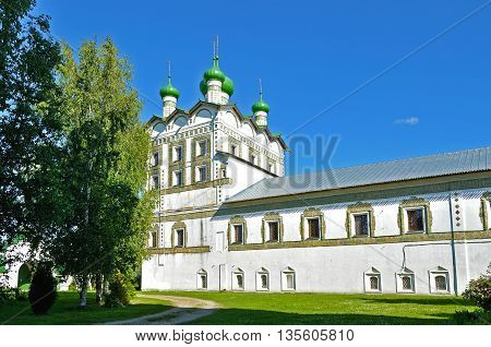 Church of St John the Evangelist with the refectory church of the Ascension in Nicholas Vyazhischsky stauropegic monastery Veliky Novgorod Russia architecture view in summer day