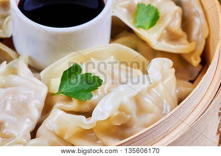 Steamed Asian dumplings. Steamed dumplings with fillings