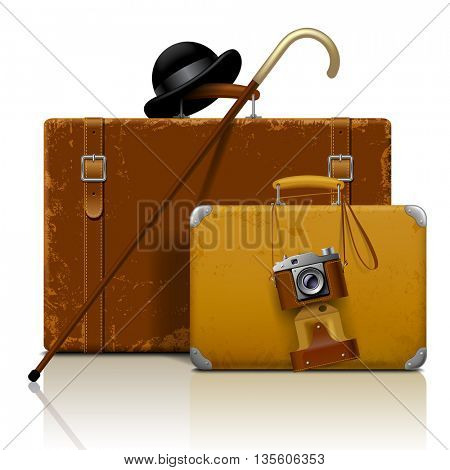 Old suitcases with walking stick, bowler hat and retro photo camera isolated on white.  Vintage voyage and traveling accessories. Vector illustration. EPS 10
