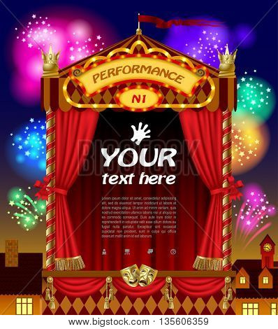 Puppet show booth with theater masks, red curtain, illuminated signboards width night city view and fireworks in the sky. Artistic and theatrical poster and template design. Vector illustration