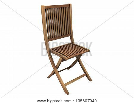 3d illustration of simple folding chair. icon for game web. wooden texture color. white background isolated. simple to use. empty without anybody