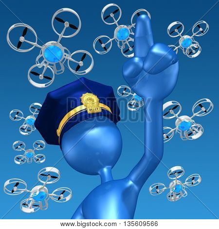 Aerial Police Drones 3D Illustration Concept