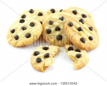 Chocolate chip cookies isolated on white background.