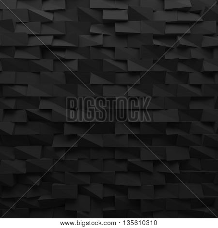 Black abstract squares backdrop. Geometric polygons, as tile wall. Interior room