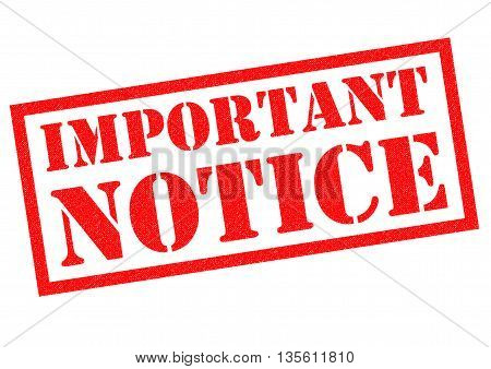 IMPORTANT NOTICE red Rubber Stamp over a white background.