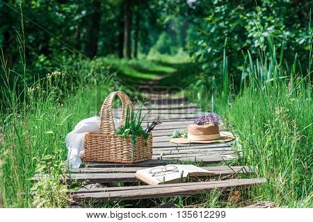 Rectangle basket with green vegetables straw hat book and eyeglasses on the plank footway among the grass.