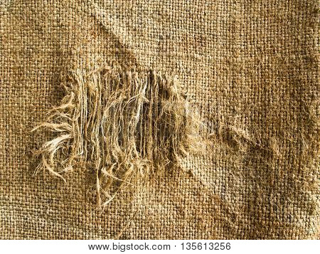 Closeup to texture of Hemp sack tattered