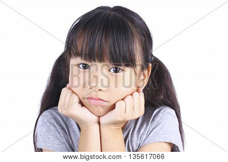 Portrait of young cute girl isolated on white.