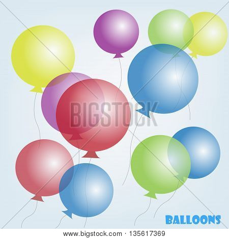 Illustration with multicolored balloons. Background. Red, yellow, blue, green