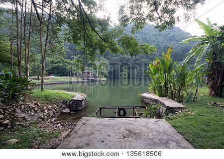 A Stone platform by the lake facing mountain area