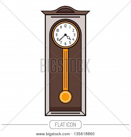 Grandfather clock vintage. Flat colored object, icon. Vector illustration