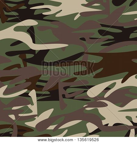 Military Camouflage Background. Brown and dark green military Camouflage.Multicolored military Camouflage.