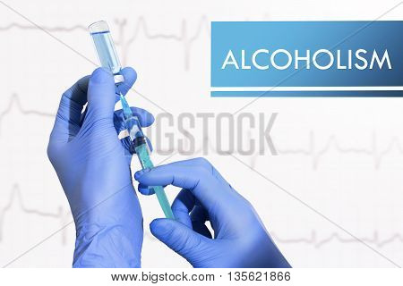 Stop alcoholism. Syringe is filled with injection. Syringe and vaccine