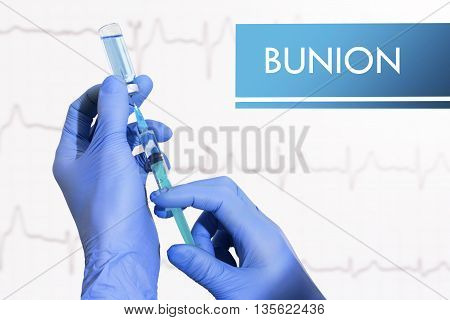 Stop bunion. Syringe is filled with injection. Syringe and vaccine
