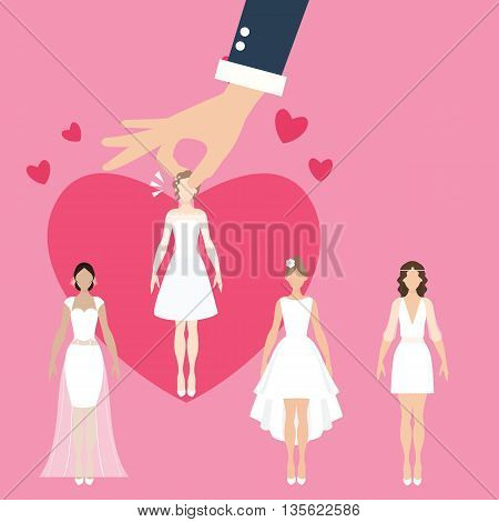 man pick select girl as bride wife matrimonial match making vector