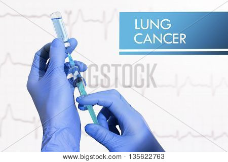 Stop lung cancer. Syringe is filled with injection. Syringe and vaccine