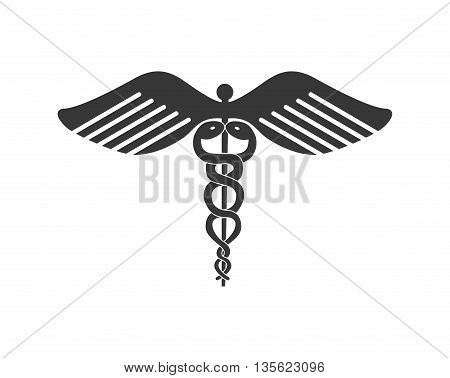 Medical cand Heatlh care concept represented by caduceus icon over flat and isolated background