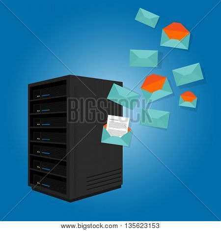 mail server send spam many emails vector