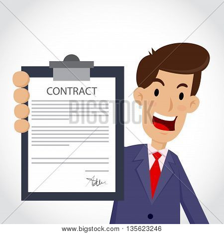 Vector stock of businessman holding business contract and agreement paper