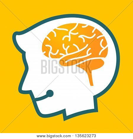 Vector stock of human head silhouette with brain symbol inside