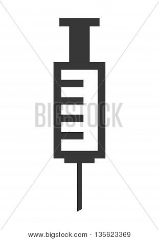 Medical cand Heatlh care concept represented by injection icon over flat and isolated background