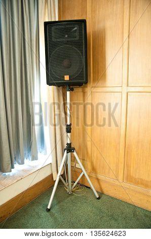 Stage loudspeaker in room of corner at hotel